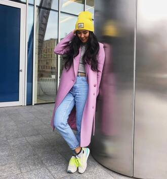 shoes sneakers new balance white sneakers denim jeans blue jeans coat pink coat beanie neon