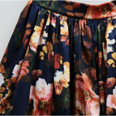 Navy high waist floral pleated skirt