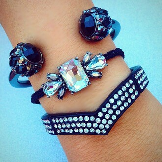 jewels jewel cult jewelry bracelets stacked bracelets black black jewelry arm candy arm party bling
