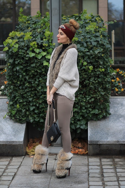 from brussels with love blogger cardigan pants shoes bag headband winter outfits chanel bag boots