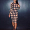 Mesh striped dress - nude or black | awesome world - online store