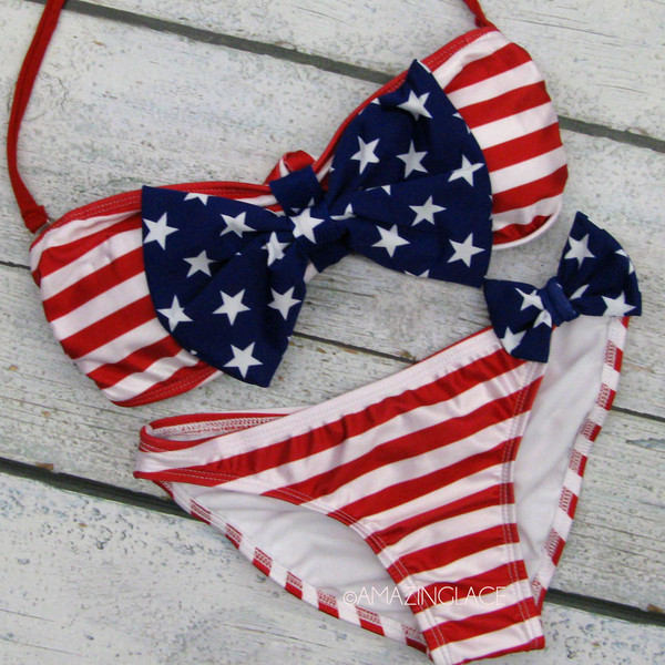Miss usa flag sailor bandeau bow swim bikini