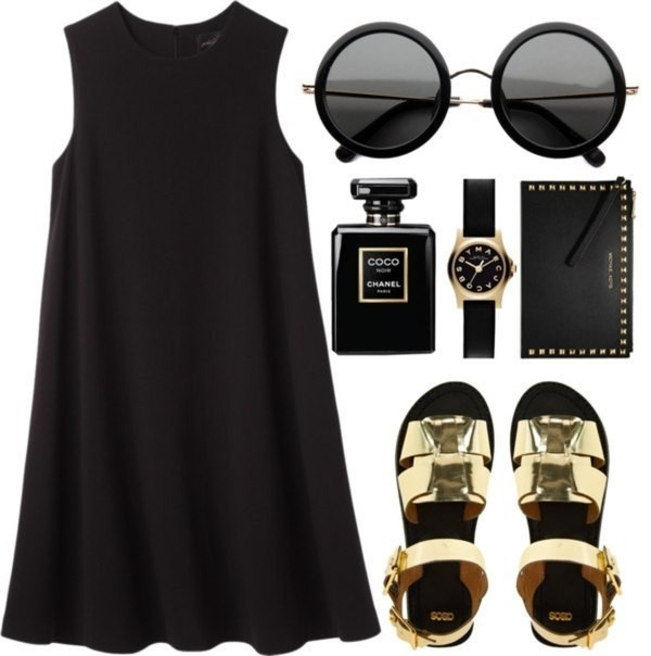 dress black sunglasses sandals little black dress shoes