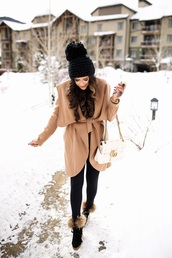 thesweetestthing,blogger,jacket,leggings,t-shirt,hat,jewels,sunglasses,shoes,bag,gucci,gucci bag,camel coat,beanie,winter outfits