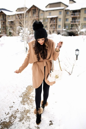thesweetestthing blogger jacket leggings t-shirt hat jewels sunglasses shoes bag gucci gucci bag camel coat beanie winter outfits