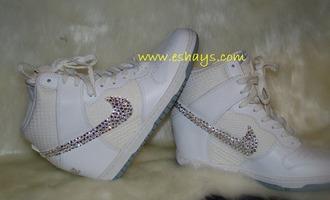 shoes white nike dunks sky hi rhinestone nike shoes rhinestone nike women dunks ski hi wedding sneakers prom shoes