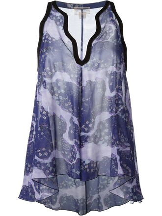 top sleeveless top sleeveless floral print purple pink
