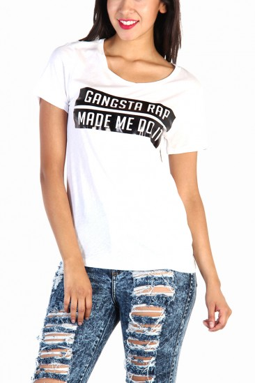 LoveMelrose.com From Harry & Molly | Gangsta Rap Made me do it Print top - White