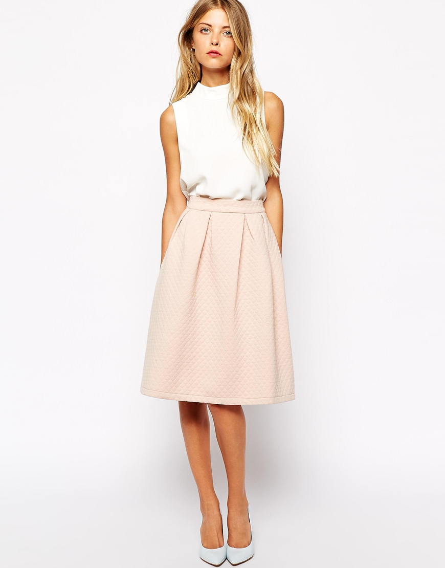 Vila quilted a line midi skirt at asos.com