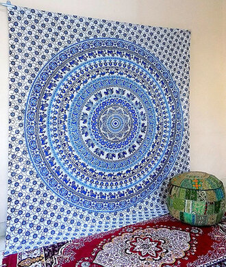 home accessory hippie bohemian boho gypsy wall decor wall hanging home decor tapestry mandala white tapestry blue tapestry