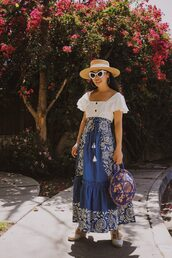 hallie daily,blogger,t-shirt,hat,bag,skirt,shoes,sunglasses,maxi skirt,round bag,blue skirt,spring outfits
