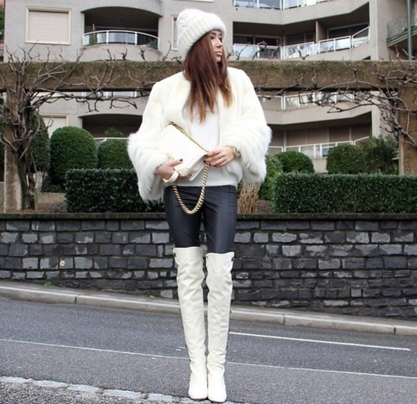 jacket fur white chanel boots beanie