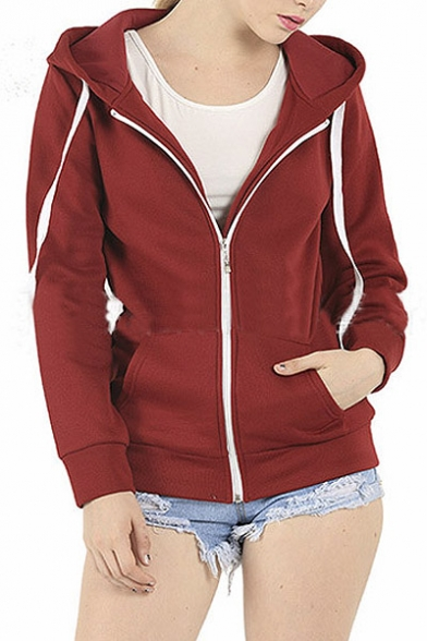 Women\u0027s Plain Hoodie Hooded Zip Zipper Top Sweat Shirt Jacket Sweater Hoodie