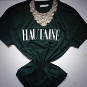 t-shirt,jewels,forest green,statement necklace
