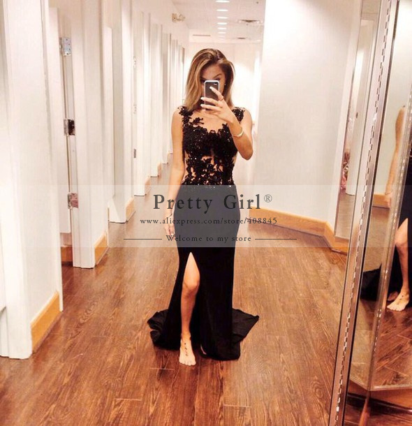 Aliexpress.com : Buy Elegant Black Long Mermaid Prom Dresses 2015 ...