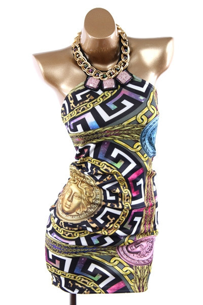 Yonce sexy medusa baroque chains bodycon dress – glamzelle