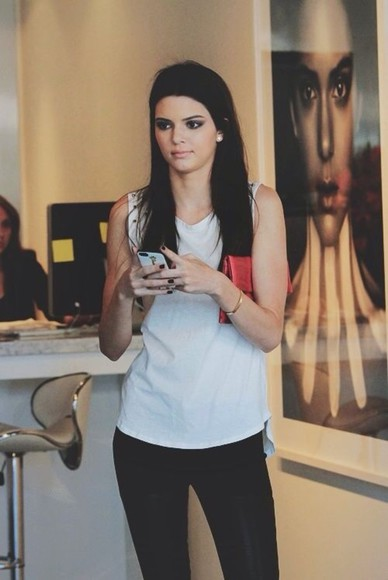 kendall jenner blouse tank top black white keeping up with the kardashians stunning black leather pants