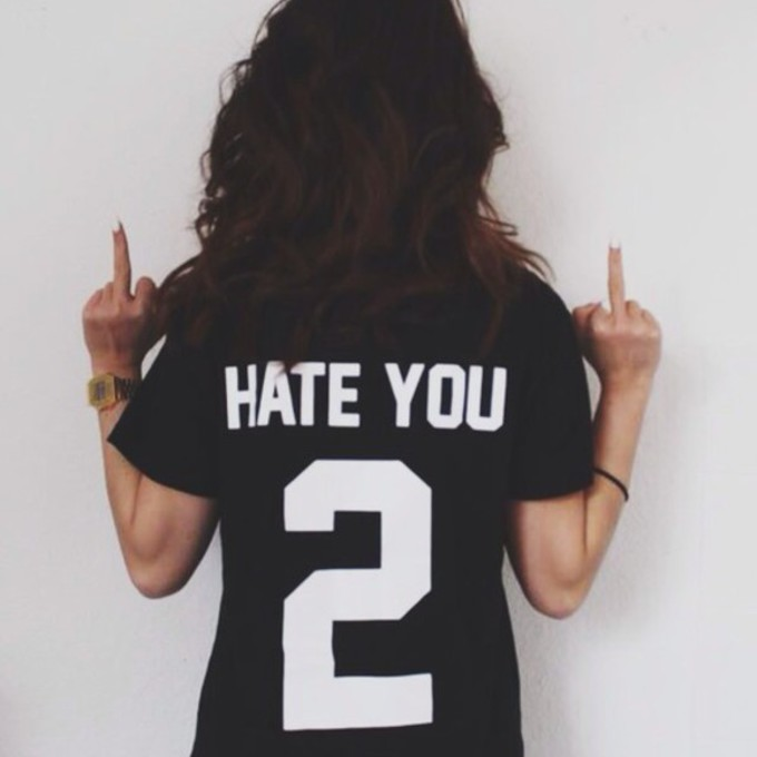middle finger t-shirt hate you 2 the middle