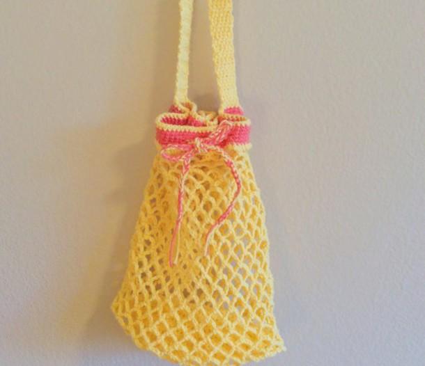 bag girl girly girly wishlist crochet crochet bag yellow pink cute beach beach bag