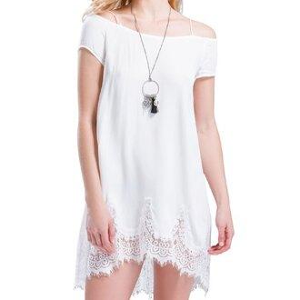 dress white summer cute white dress lace dress necklace cute dress