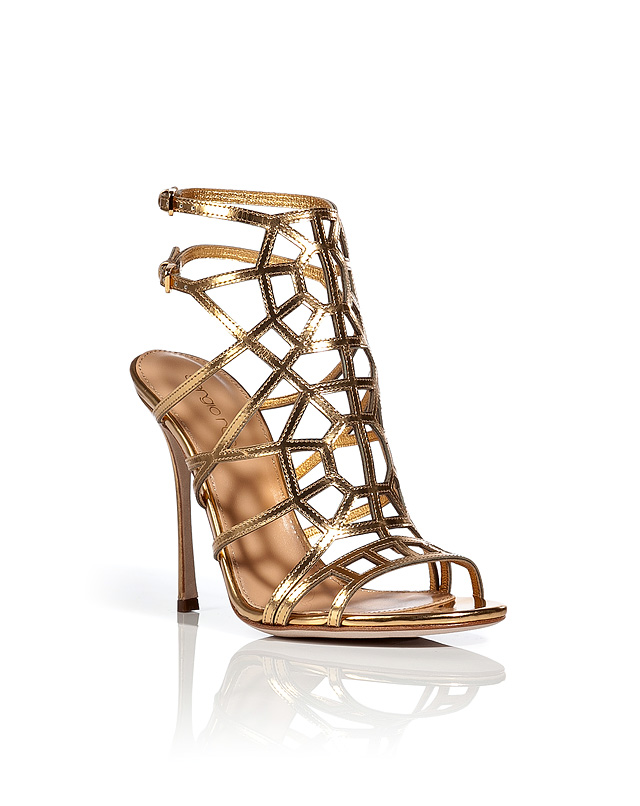 Metallic Leather Cage Sandals from SERGIO ROSSI | Luxury fashion online | STYLEBOP.com