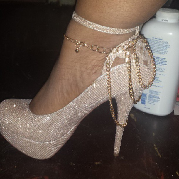 shoes gold ankle strap heels stilettos heels heels with straps heels with chains