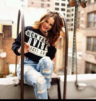 top sweater parental advisory explicit content jeans hairstyles black streetwear denim boyfriend jeans celebrity style