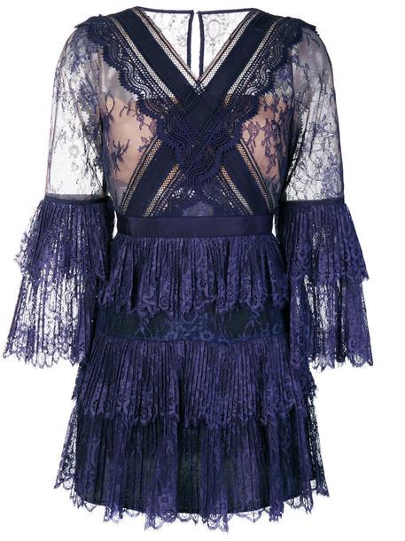 dress lace dress women lace blue