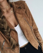 jacket,brown leather jacket,brown jacket,gold choker,ootd,white tank top