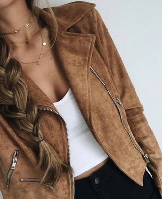 jacket brown leather jacket brown jacket gold choker ootd white tank top