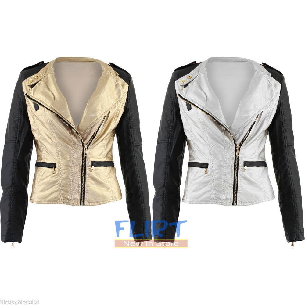 Biker Jacket Rihanna Miley Cyrus Faux Leather Silver Gold Contrast ...