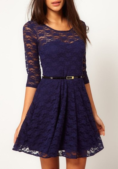 dress lace dress cute dress royalblue love it formal dresses please help me! , black belt belt cute