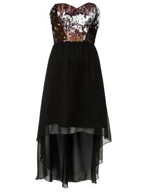 Chi Chi Black Multi Sequin Strapless Dip Hem Prom Dress