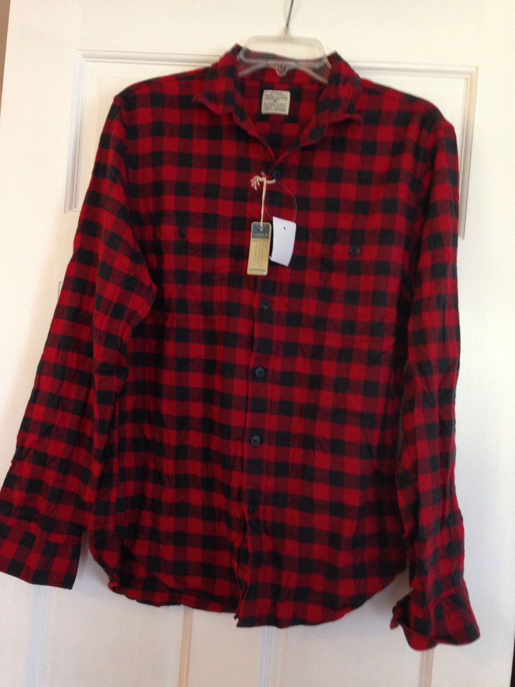 CLEARANCE J Crew Fall '13 Mens M Flannel Work Shirt Red Plaid Grey Buffalo | eBay
