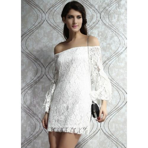 SHOULDER WHITE VINTAGE LACE DRESS