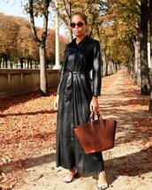 bag,handbag,crocodile,mid heel sandals,maxi dress,leather dress,long sleeve dress,button up,earrings,sunglasses