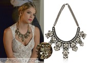 jewels,pretty little liars,jewelry,hanna marin,ashley benson,floral,lace,necklace,statement necklace