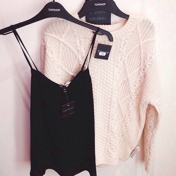 sweater beige sweater shirt beige black fashion tan tank cami camisole black cami