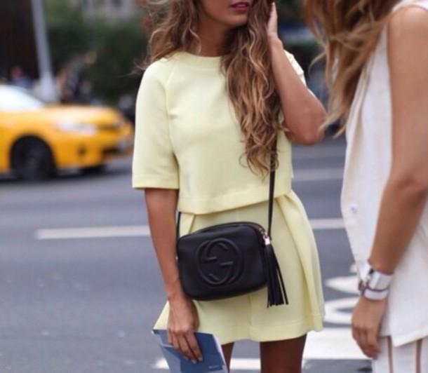 dress yellow dress chanel bag