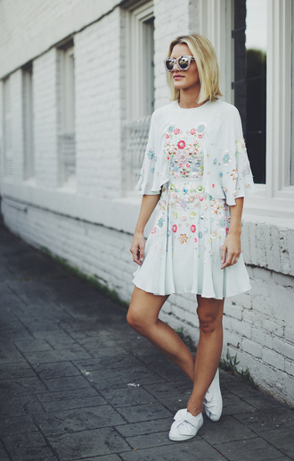 so sage blogger three-quarter sleeves floral floral dress embellished dress embellished embroidered dress beaded dress short hair cat eye white sneakers pastel dress birthday dress
