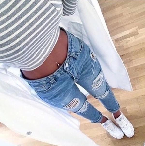 Jeans t shirt pants high waisted boyfriend jeans for Boyfriend jeans mit netzstrumpfhose