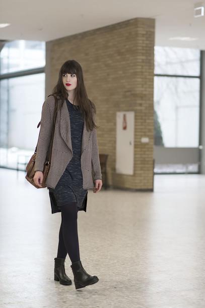 andy sparkles blogger cardigan charcoal grey dress dress shoes bag