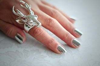 jewels shiny metallic deer antlers ring silver