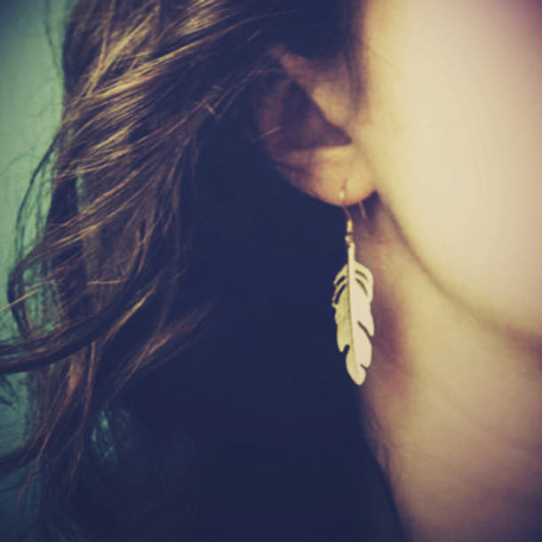 jewels feathers earrings