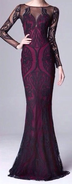 Purple and Black Evening Gowns