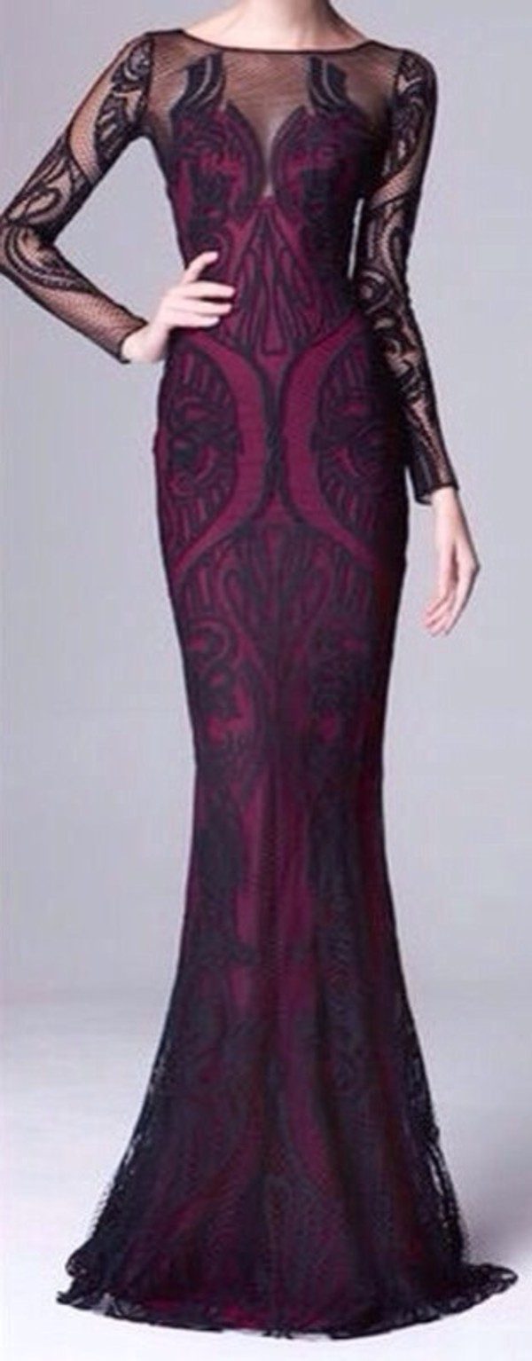 dress prom dress prom gown long prom dress evening dress purple purple dress plum long sleeve dress long sleeves black