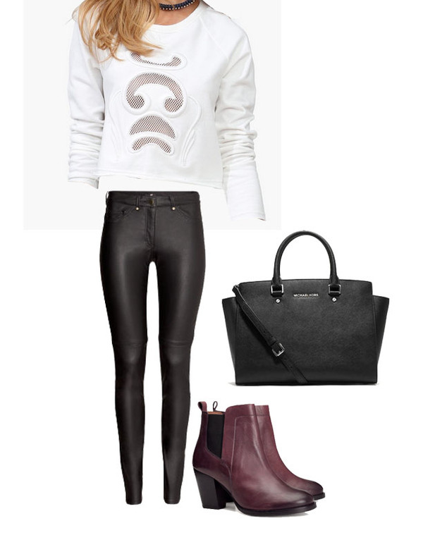 jeans boots michael kors white sweater leather fall outfits bag shoes blouse