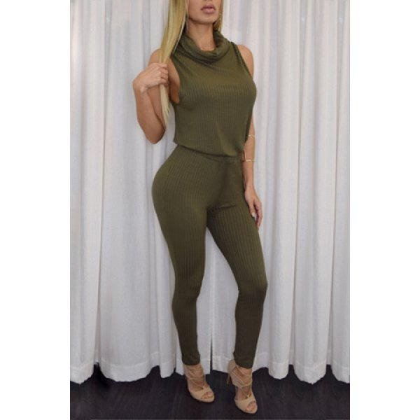 Wholesale Chic Turtle Neck Sleeveless Pure Color Jumpsuit For Women