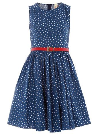 Blue polka dot belted dress