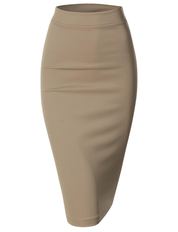 Doublju Women Scuba Stretchy Fabric Pencil Skirt at Amazon Women's Clothing store: